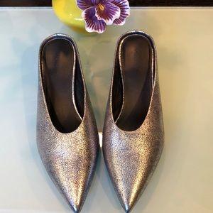 Vince silver metallic mules